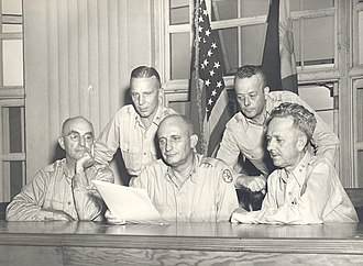 Tomoyuki Yamashita - The Yamashita Trial Commission. From left to right: Major General Leo Donovan, Brigadier General Morris C. Harwerk, Major General Russel B. Reynolds, Brigadier General Egbert F. Bullens, and Major General James A. Lester