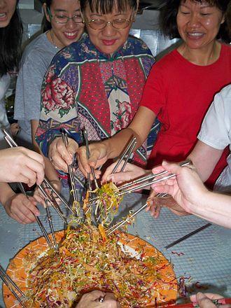 Yusheng - Mixing of ingredients