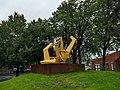 Yellow metal sculpture at Kirkstall (geograph 6239527).jpg
