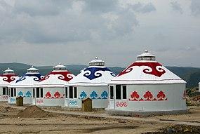 Mongolsk jurtor i Inre Mongoliet.