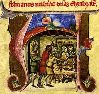 Felician Záh - The attempt of Felician Záh on the royal family, depicted in the near-contemporaneous Illuminated Chronicle