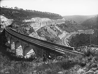 Main Western railway line, New South Wales - The Lithgow Zig Zag (photo circa 1900)