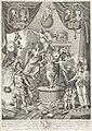 Zinneprent rond huwelijken van de zoon en dochter van Willem V, 1790-1791 Tafreel ter Gedachtenissen der Hooge Huwelyken tusschen (..) Willem Frederick, Erfprins van Orange &, met Frederica Louisa Wilhelmina, Princes va, RP-P-OB-86.170.jpg