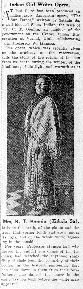 Zitkala-Sa - Contemporary 1913 newspaper article in the El Paso Herald about The Sun Dance Opera