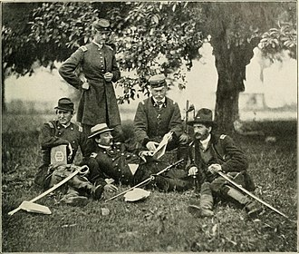 William Ludlow - Officers chat during the Civil War. Major Ludlow sits on left.