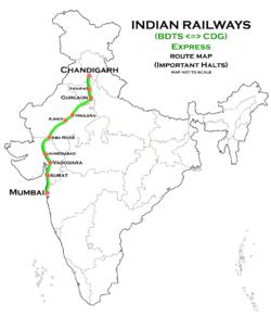 Chandigarh Bandra Terminus Superfast Express - Wikipedia