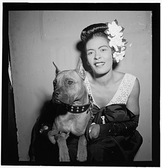 "Billie Holiday - ""Portrait of Billie Holiday and Mister, Downbeat, New York, N.Y., ca. Feb. 1947""."