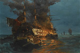 The burning of a Turkish frigate