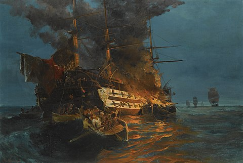 """The burning of the Ottoman frigate at Eressos by Dimitrios Papanikolis"" by Konstantinos Volanakis Konstantinos Bolanakes - To kapsimo tes tourkikes phregatas.jpg"
