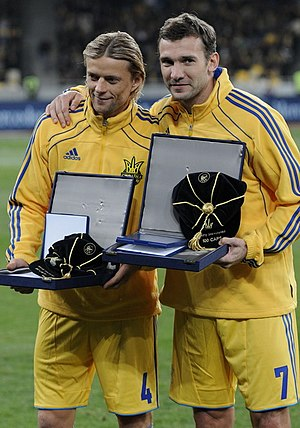 Ukraine national football team - Anatoliy Tymoshchuk and Andriy Shevchenko being honored by UEFA in 2011 for their 100th cap. They are the first and second, respectively, most capped players in the history of Ukraine.