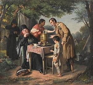 Russian tea culture - A Tea Party in Mytishchi. Vasily Perov, 1862