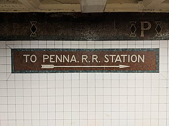 "Abbreviation - Sign in New York City subway, reading ""Penna."" for Pennsylvania, showing American style of including the period even for contractions."