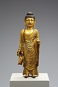 Golden sculpture of Bhaisajyaguru, National Museum of Korea. Made in 8th century, in Unified Silla.