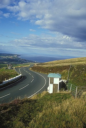 Snaefell Mountain Course - TT Race Marshal Signal Box on the A18 Mountain Road looking north towards Guthrie's Memorial and the Point of Ayre.
