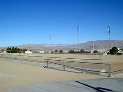 Trona High School's dirt football field.