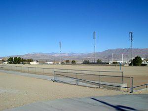 Trona, San Bernardino County, California - Trona High School's unique dirt football field