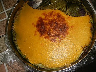 Cassava cake - Cassava cake from Bulacan baked on banana leaves and topped with milk-based custard