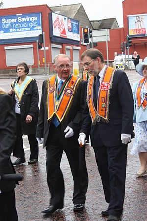 Nelson McCausland - Nelson McCausland (right), Orange Parade, Belfast, 12 July 2011