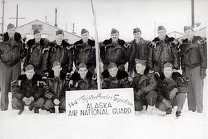 Alaska Air National Guard - The newly designated 144th Fighter-Bomber Squadron, Alaska ANG poses for a picture during the winter of 1953.
