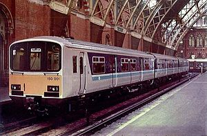 Regional Railways - 150001 at St Pancras after a publicity run, 1985