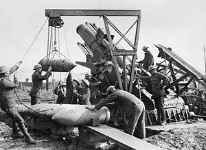 Royal Marine Artillery crew loading a 15-inch ...