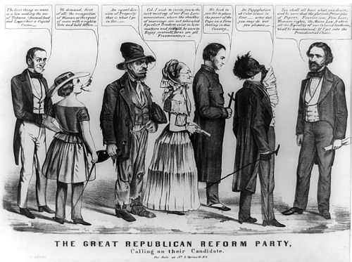 This Democratic editorial cartoon links Republican candidate John Frémont (far right) to other radical movements including temperance, feminism, Fourierism, free love, Catholicism, and abolition. 1856-Republican-party-Fremont-isms-caricature.jpg