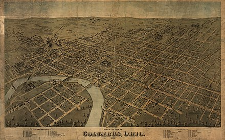 Bird's eye view map of Columbus in 1872 1872 Birds Eye View of Columbus Ohio by Bailey LC.jpg
