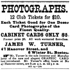 1876 James W Turner photographer advert 47 Hanover Street in Boston.png