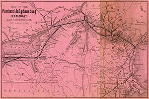 Portland and Ogdensburg Railway - 1879 map
