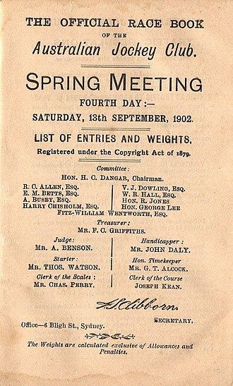 Wakeful (horse) - Image: 1902 AJC Randwick Plate Racebook P2
