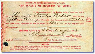 Document - Image: 1912 Birth Certificate Ken Baker