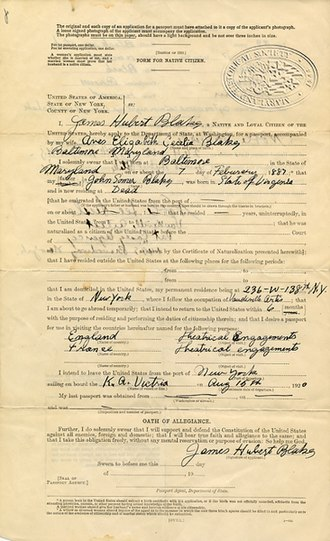 Eubie Blake - Image: 1920 passport Blake