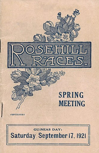 Rosehill Guineas - Image: 1921 RRC Hill Stakes Racebook P1