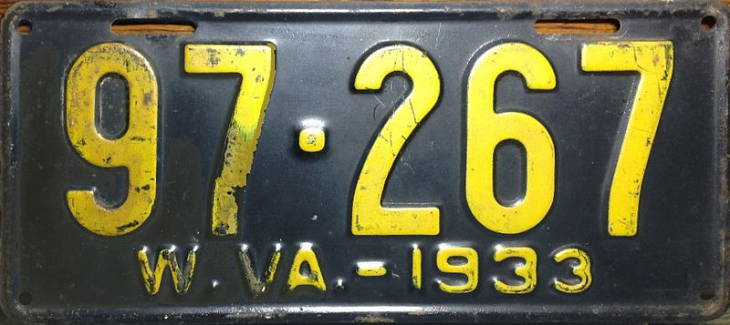 File:1933 West Virginia license plate.jpg