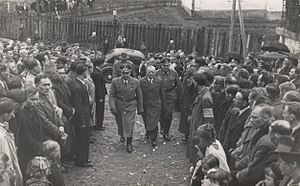 14th Waffen Grenadier Division of the SS (1st Galician) - Hans Frank and Dr. Hofstetter of SS Galizien enter a Ukrainian Greek Catholic church prior to the installation of volunteers in Sanok, 1943.