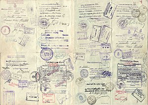 Bulgarian passport - Image: 1943 pages from a Bulgarian Diplomatic passport used for travelling to Switzerland