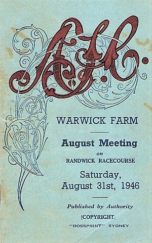 Shannon (horse) - Image: 1946 AJC Warwick Stakes Racebook P1