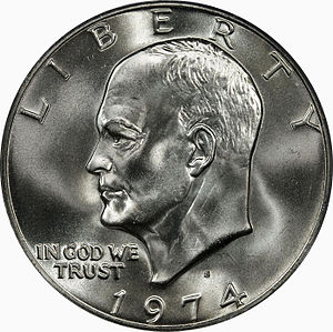 Dollar coin (United States) - The Eisenhower 1974 dollar (obverse).