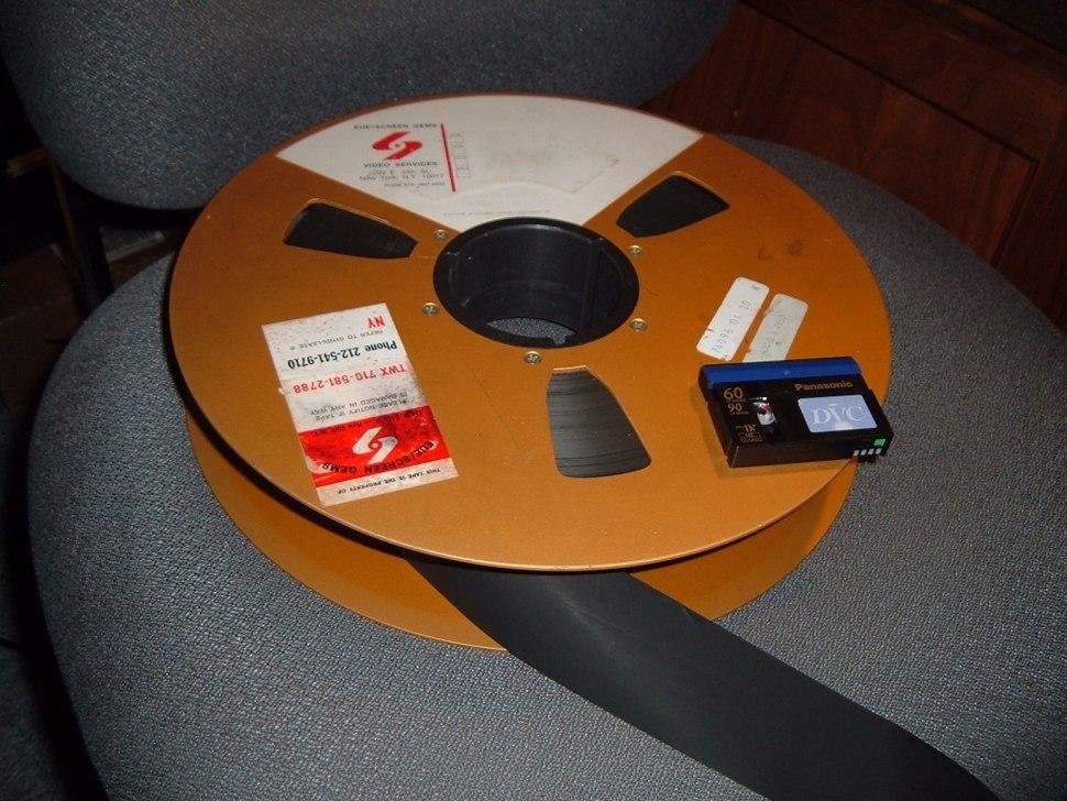 2-inch Quad Tape Reel with miniDV cassette