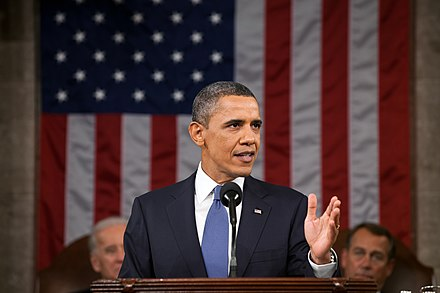 Barack Obama, 44th President of the United States (2009-2017), delivering the State of the Union Address in 2011 2011 State of the Union Obama.jpg