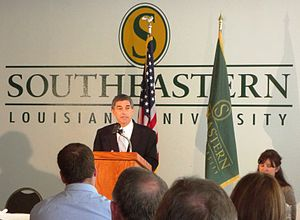 Jay Dardenne - Dardenne speaking to the Hammond Chamber of Commerce luncheon in the Twelve Oaks Cafeteria at Southeastern Louisiana University on the topic of Louisiana's historical political figures.