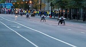 2012 Chicago Marathon - The first turn of the men's wheelchair race