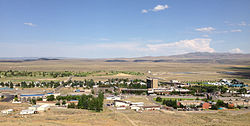 Jackpot, Nevada viewed from a hill to the west