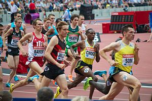 Emsley Carr Mile - Augustine Choge (second right) on his way to winning the 2013 Emsley Carr Mile held at the Olympic Stadium, London