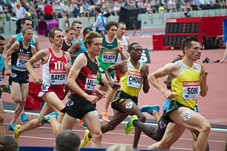 Emsley Carr Mile - Augustine Choge (second right) on his way to winning the 2013 Emsley Carr Mile held at the Olympic Stadium, London.