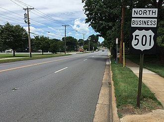 Special routes of U.S. Route 501 - View north along US 501 Bus. in Lynchburg