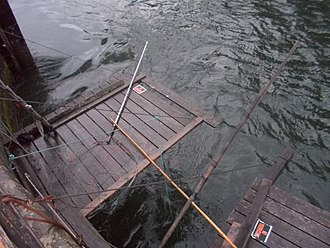 Cascade Locks and Canal - Dipnet fishing platforms on the canal