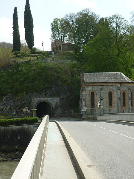 Napoleon the third's Bridge over the river Garonne, Saint-Roch Chapel, tunnel of the Aspet little train, Notre-Dame des sept douleurs Chapel (above), , Miramont de Comminges, France.
