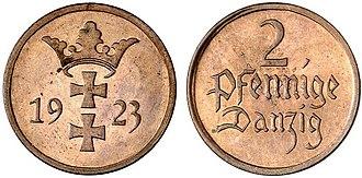 Coat of arms of Gdańsk - Image: 2fenigi gdansk