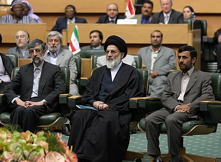 Shahroudi along with Mahmoud Ahmadinejad and Gholam-Ali Haddad-Adel 3rd International Conference on Quds and Protecting the Rights of the Palestinian People 14.jpg